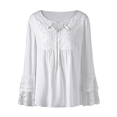 908c0de4aca Nevera Plus Size Women V Neck Tops Lace Loose Long Sleeve White T Shirt Tee Cotton  Blouse at Amazon Women's Clothing store: