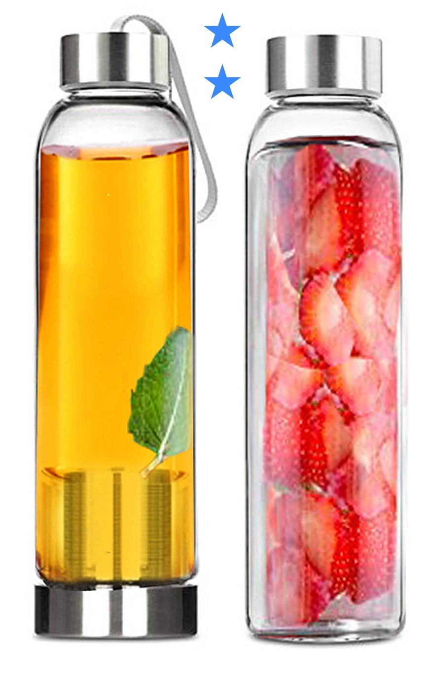 Amazon.com: Tea Infuser and Glass Water Bottles Set - Pair of 18 ...