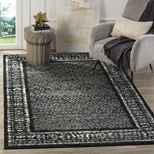 Safavieh Adirondack Collection ADR110A Black and Silver Vintage Distressed Square Area Rug (6' Square) - 6 Square Rug