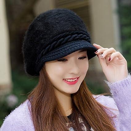 eb0a9b7af1610a Amazon.com: KAKA(TM Women Girl Korean Stylish Peaked Cap Plush ...