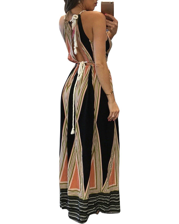 630f5d5dbe6 BIUBIU Women s Boho Floral Halter Summer Beach Party Split Cover Up Dress  S-XL at Amazon Women s Clothing store