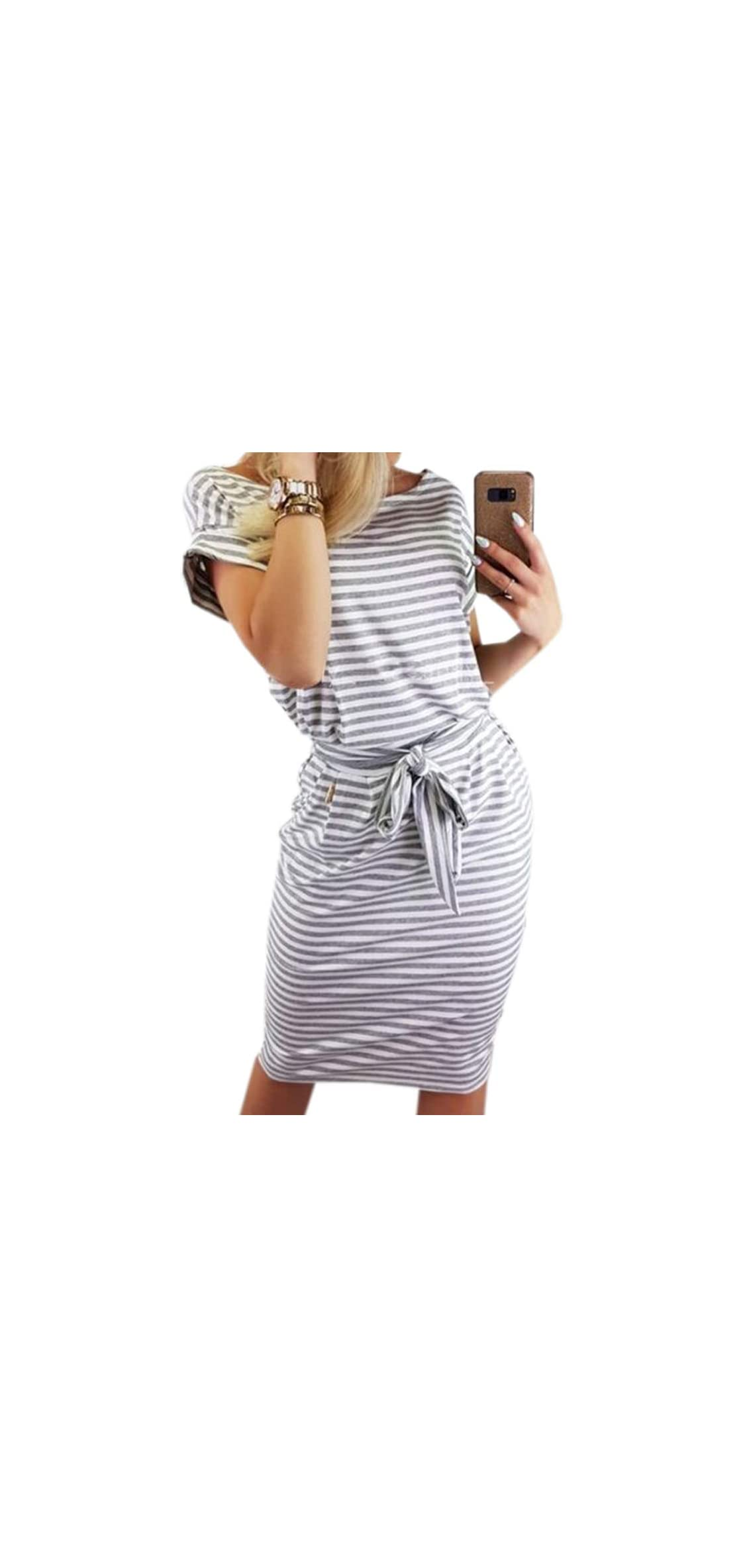 Women's Striped Elegant Short Sleeve Wear To Work Casual