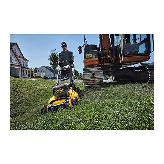Dewalt 20v max lawn mower, 3-in-1, 2 batteries (dcmw220p2) 7 push mower comes with powerful brushless motor and (2) 20v max* batteries working simultaneously for high power output. 3-in-1 push lawn mower for mulching, bagging and side discharging battery lawn mower has heavy-duty 20-inch metal deck
