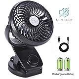 Mini Ventilador Clip Ventilador 4400mAh Batería Ventilador De Escritorio USB Activado Ventilador Silencioso Pequeño Personal Portátil para la Oficina, Hogar,Viajar, acampar, Cochecito de Bebé(Negro)
