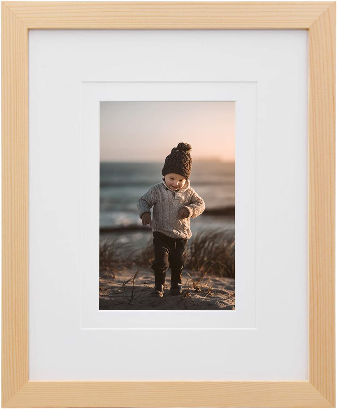 KINLINK 8x10 Picture Frames Natural Wood Frames with HD Plexiglass for Pictures 4x6/5x7 with Mat or 8x10 Without Mat, Tabletop and Wall Mounting Display