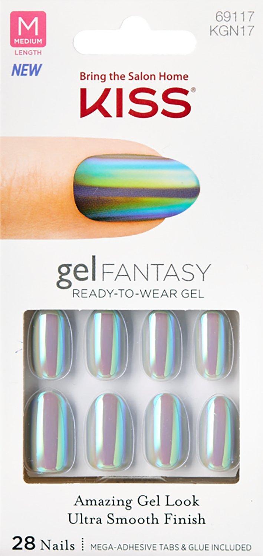 Kiss GEL FANTASY MEDIUM OVAL Nails KGN17 (NO PRESSURE) w/Adhesive Tabs & Glue
