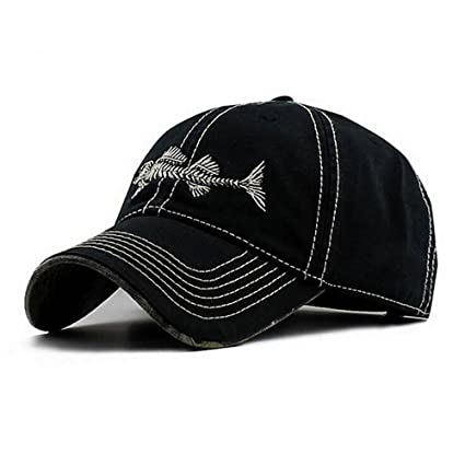 794a77c993 Amazon.com : AKIZON Mens Hats Baseball Cap with Fish Bones - Fishing Hat  for Men, Black 7 1/4 : Sports & Outdoors