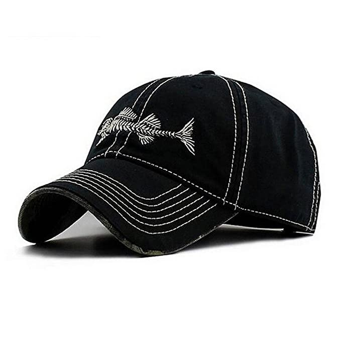 Amazon.com : AKIZON Mens Hats Baseball Cap with Fish Bones - Fishing Hat for Men, Black 7 1/4 : Sports & Outdoors