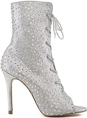 autor Filadelfia silueta  Manuel Reina - Botines de Cristal Swarovski tacón Mujer - Universe Swarovski  - Fabricados a Mano - Fashion Boots - Tacón de Aguja: Amazon.es: Zapatos y  complementos