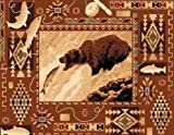 2' X 4' Country Theme Lodge Mat Rug Southwestern Bear Catching Fish Cabin Rug