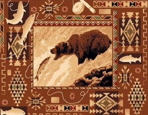 2' X 4' Country Theme Lodge Mat Rug Southwestern Bear Catching Fish Cabin Rug by Persian Rugs
