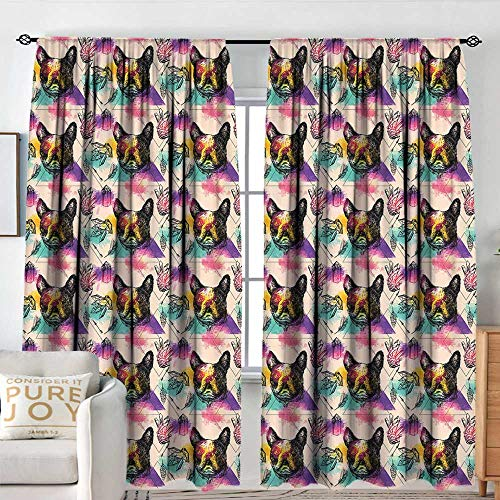 (Blackout Valances for Girls Bedroom Dog Lover,Colorful Crystals Pattern Triangles Sixties Inspired Psychedelic Boston Terrier,Multicolor,Rod Pocket Curtains for Big Windows)