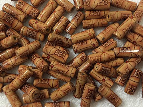 PEPPERLONELY Brand 50g (apprx 143PC) Sienna Dyed Tube Wood Beads ()