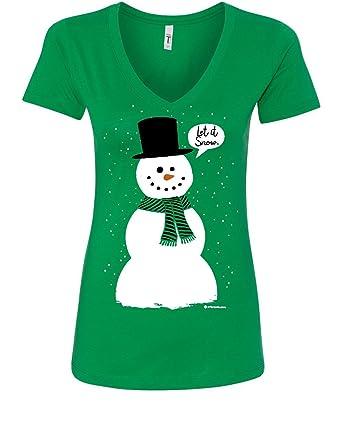 51125d4b9ee Let It Snow Women's V-Neck T-Shirt Funny Snowman Christmas Xmas Green S