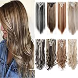 "S-noilite Newest Binary Colour 8PCS/SET Full Head Hair Extensions Real Natural Thick as Human Hair Top Synthetic Hairpiece For Daily Dating Party Wedding (26""-Straight, Light Brown & Ash Blonde)"