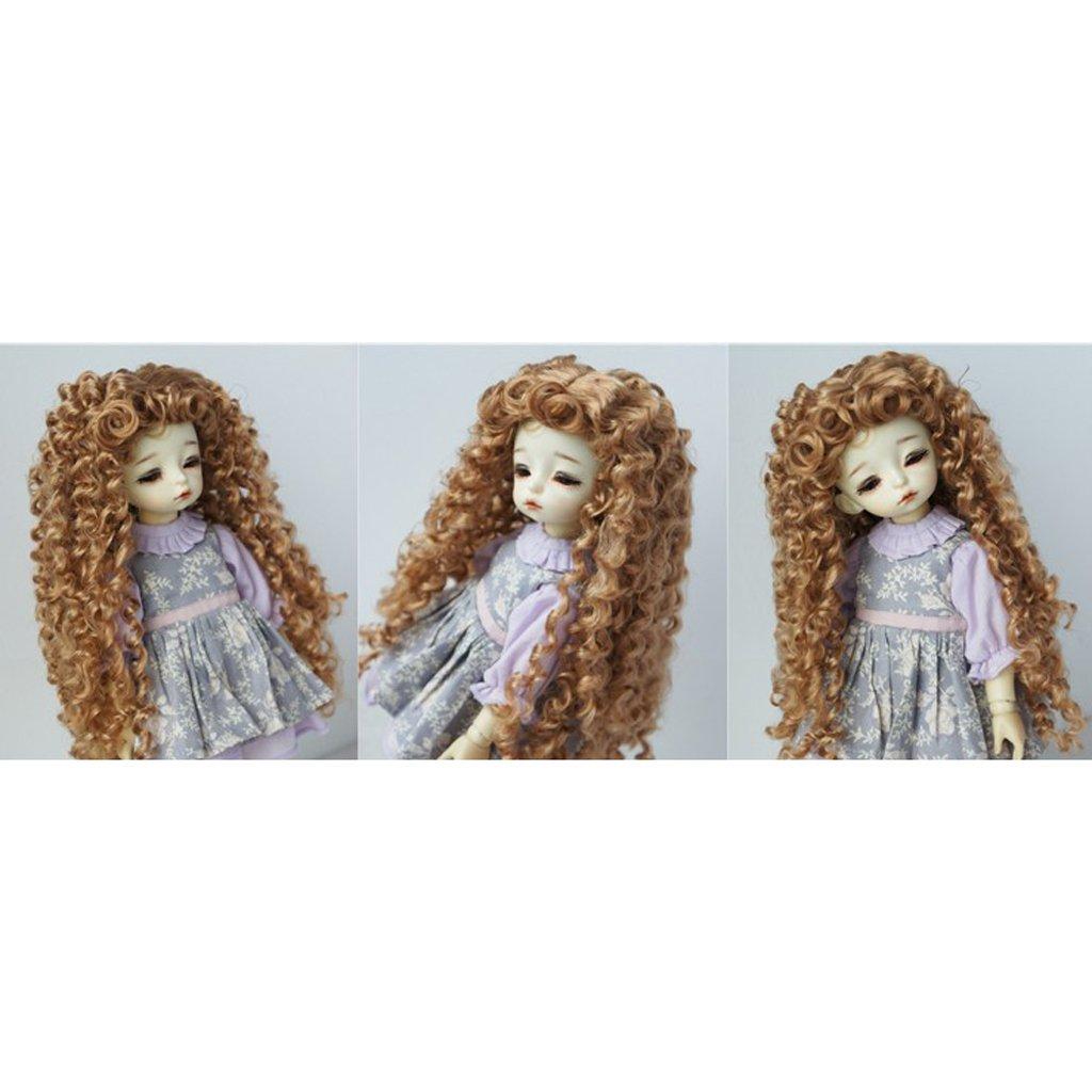 B Baosity Bricolage Cheveux Boucl/és Perruque Postiche pour 1//6 Poup/ée BJD Dolls Dolls Accessoire Utilisation Personnalis/ée Brun