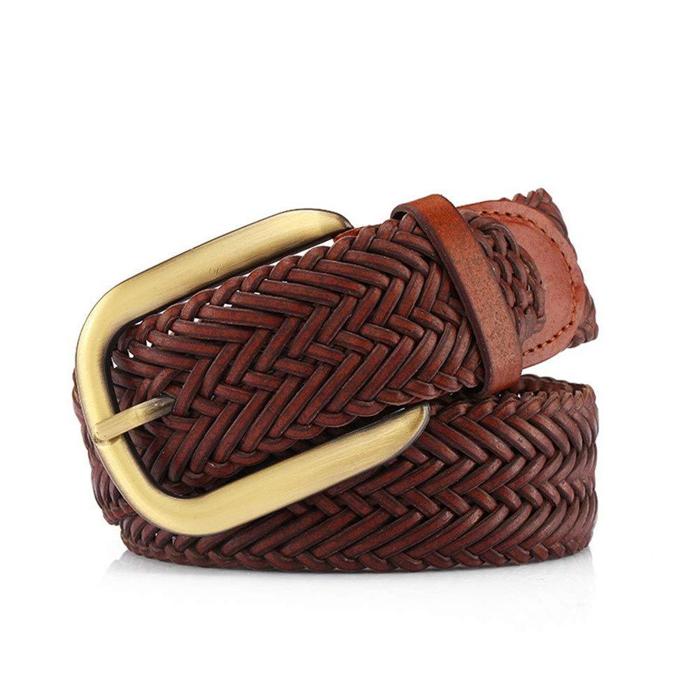 Keliour Damen Vintage Leder geflochtenen Gürtel für Jeans Shorts Hosen Sommerkleid für Dame mit Legierung Dornschließe Ledergürtel mit Schnalle (Farbe : Braun, Größe : Free Size)