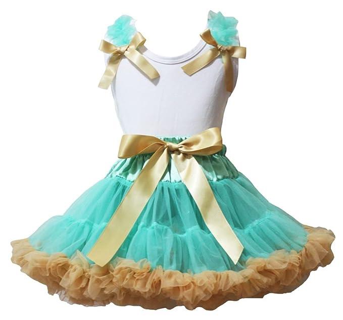 Vestido de nina azul con dorado