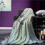Floral waterproof blanket Spring Petal Birthday Celebration Valentines Flourish Beauty Girlish Print plush blanket Pale and Violet Blue size:51''x31.5''