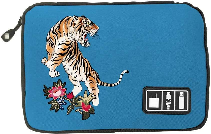 Electronic Accessories Travel Bag Tiger USB Flash Drive Case Bag Wallet SD Memory Cards Cable Organizer