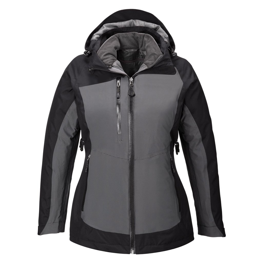 Ash City Ladies Alta 3-in-1 Jacket (X-Small, Black/Metal Inside Liner)