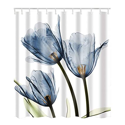 Artown Blue Tulip Flower Shower Curtain Romantic Vintage Watercolor Floral Series Digital Printing Waterproof Mildew