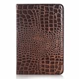 Galaxy Tab A 9.7'' Book Cover, Dark Brown Crocodile Smart Folio Leather Case with Sleep/Wake Feature for Samsung Galaxy Tab A 9.7'' SM-T550