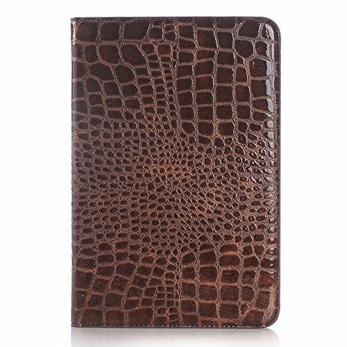 Galaxy Tab A 9.7'' Book Cover, Dark Brown Crocodile Smart Folio Leather Case with Sleep/Wake Feature for Samsung Galaxy Tab A 9.7'' SM-T550 by Life Sweetly
