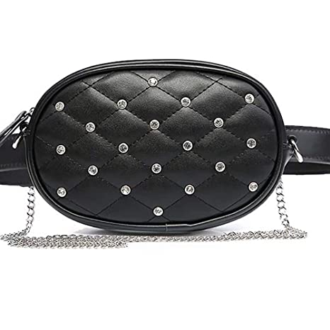 c1a8ca34b78a Amazon.com: Hotpaint Black Leather Waist Bag, Quilted Cool Small ...
