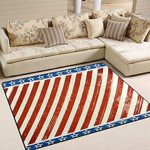 Striped American Flag 4th of July Independence Memorial Day Patriotic Freedom Stars Area Rug Pad Non-Slip Kitchen Floor Mat for Living Room Bedroom 5'x7' Doormats Home Decor