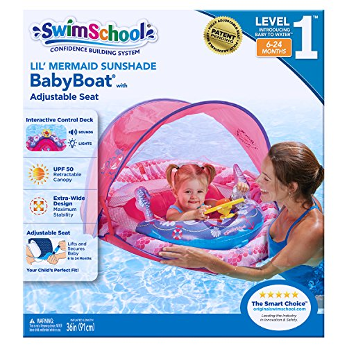 SwimSchool Lil' Mermaid Baby Boat with Sounds and Light, Retractable Canopy, UPF 50, Adjustable Seat, Inflatable Pool Float, 6 to 24 Months, Pink