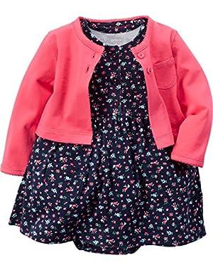 Baby Girls' Cardigan Dress Set (9 Months, Floral)