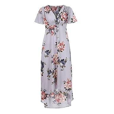 d5bdb288fbd7 Mini Dress for Women Plus Size,Women Casual Short Sleeve V-Neck Boho Flower