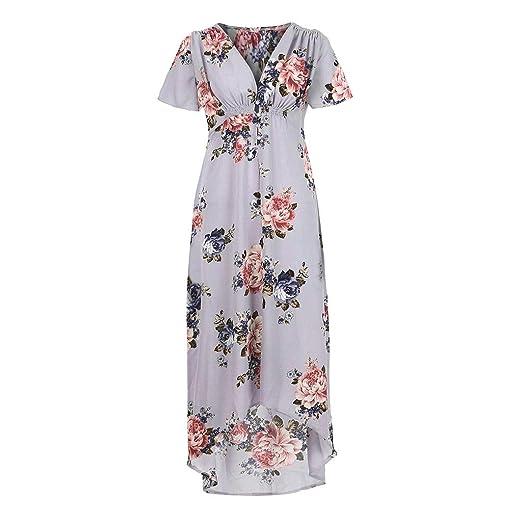 809b6551a91 Nivalkid Women s Bohemian V-Neck Floral Print Ruffled Loose Dress Casual  Vacation Fashion Maxi Dress