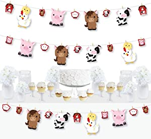 Big Dot of Happiness Farm Animals - Barnyard Baby Shower or Birthday Party DIY Decorations - Clothespin Garland Banner - 44 Pieces