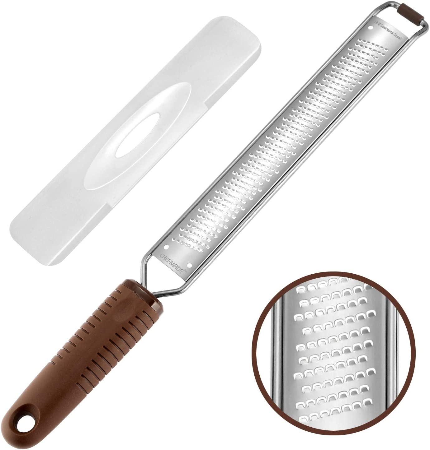CHEFMADE Lemon Grater with Dust-Proof Lip, Non-stick 18/8 Stainless Steel Zester with Non-slip Handle and Brace for Spice Grinding