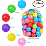 Encheng Pack of 100 Ball Pit Balls Crush Proof Plastic Ball, Pit Balls ,Kids Ball Pit Small Pop Up Toddler Ball Pits,for…