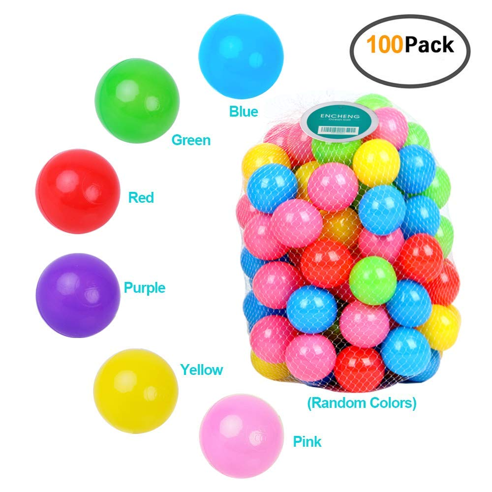 Encheng Pack of 100 Ball Pit Balls Crush Proof Plastic Ball, Pit Balls,Kids Ball Pit Large Pop Up Toddler Ball Pits,for Toddlers Girls Boys for Indoor Outdoor,Bright Colors, Phthalate Free BPA Free