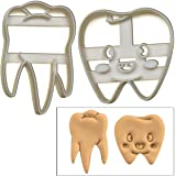 SET of 2 Dental theme cookie cutters (Cute Tooth and Realistic Molar Tooth cookie cutters), 2 pcs, Ideal for Dental themed party or as gifts for Dentists