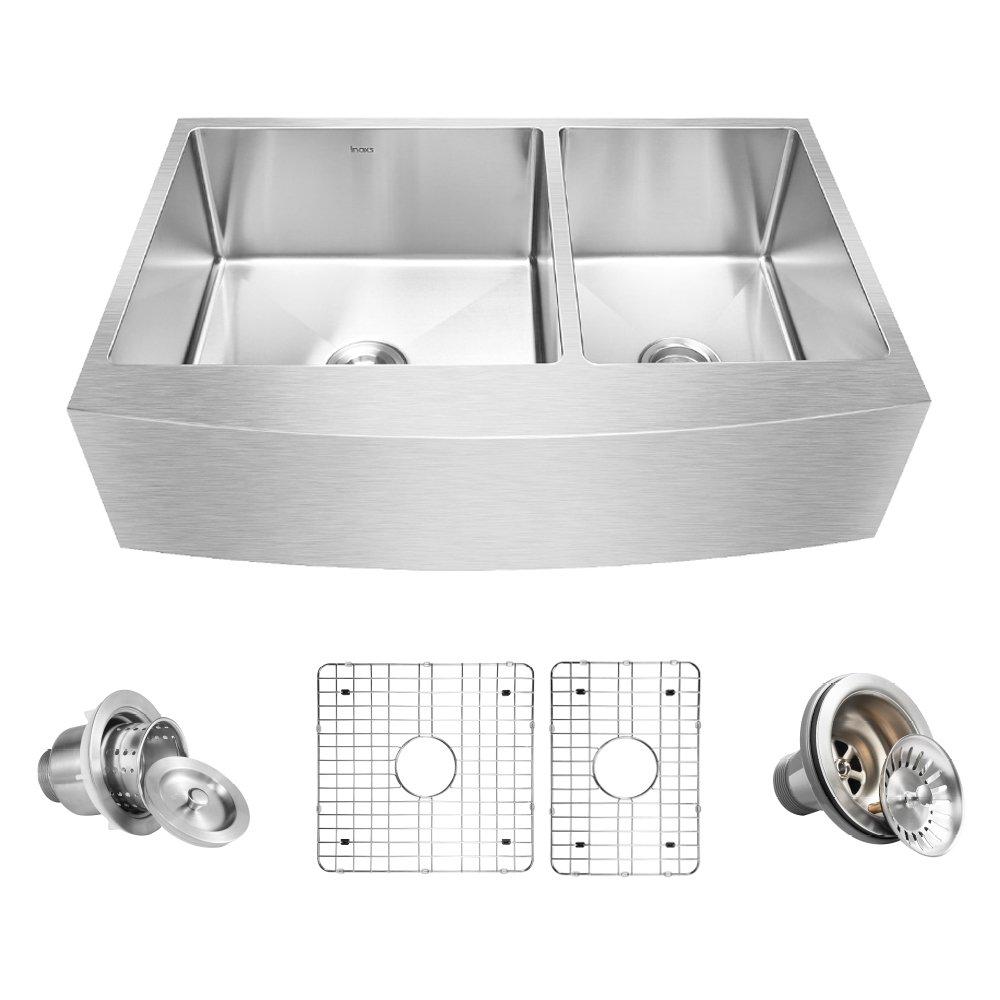 Inoxs 36'' x 21'' x 10'' Farmhouse Apron Front 60/40 Double Bowl 16 Gauge Handmade Stainless Steel Kitchen Sink/I-ACDU3621