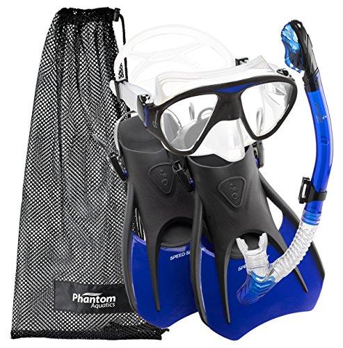 Phantom Aquatics Speed Sport Signature Mask Fin Snorkel Set, Blue, Large/Size 10-13 - Mask Fins Snorkel Boots