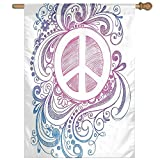 HUANGLING Classic Hand Drawn Style Peace Sign And Swirls Freedom Home Flag Garden Flag Demonstrations Flag Family Party Flag Match Flag 27''x37''