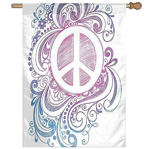 HUANGLING Classic Hand Drawn Style Peace Sign And Swirls Freedom Home Flag Garden Flag Demonstrations Flag Family Party Flag Match Flag 27''x37'' by HUANGLING