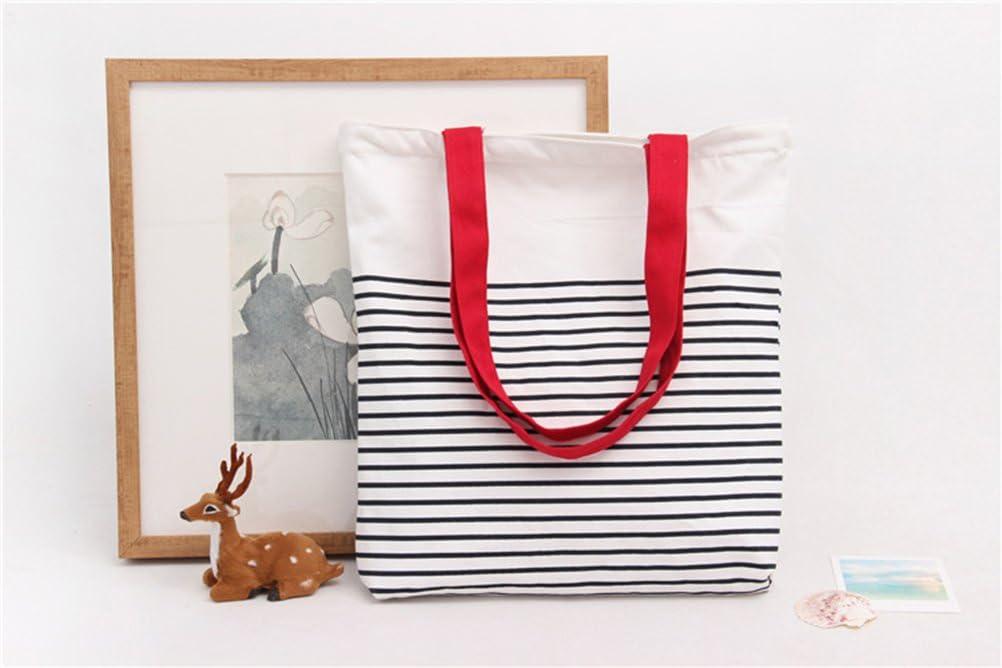Disheen - Bolsas de lona con diseño de rayas blancas y negras, 100% algodón, ideales para la compra, el ordenador portátil, libros escolares, el Principito: Amazon.es: Hogar