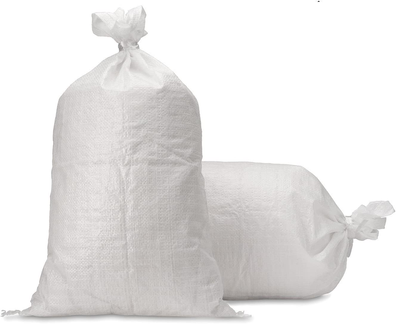 "UpNorth Sand Bags - Empty White Woven Polypropylene Sandbags w/Ties, w/UV Protection; size: 14"" x 26"", Qty of 10"