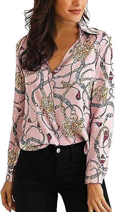LANSKRT Blusas para Mujer Elegantes Estampadas de Cadena Cuello En V Manga Larga Camisetas Tops Casuals Camisas de Otoño: Amazon.es: Ropa y accesorios