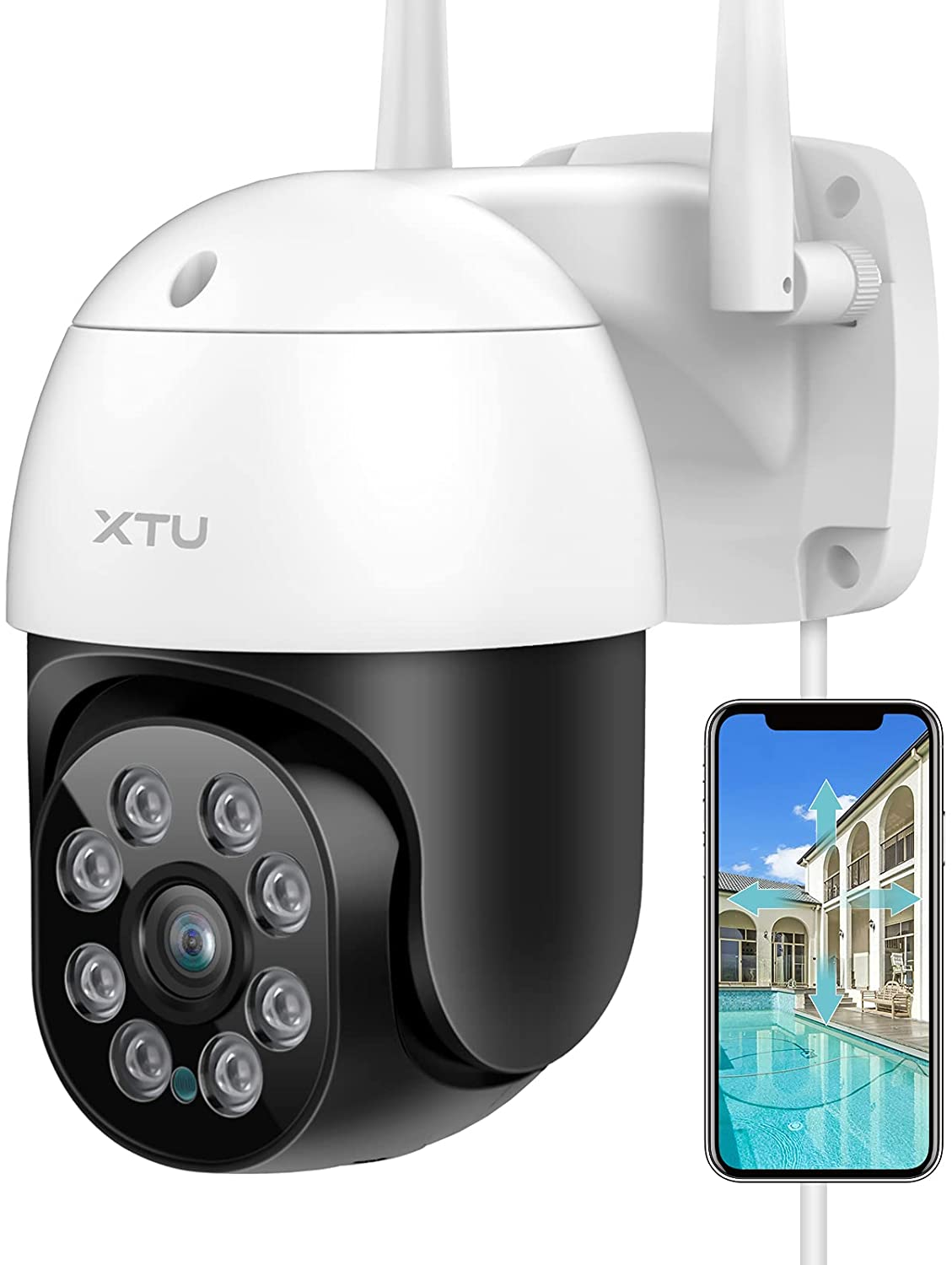 Security Camera Outdoor, XTU 360° View Pan Tilt 2.4G WiFi Outdoor Cameras for Home Security with Mobile App MIPC, Outside IP Surveillance Cameras with Night Vision, Motion Detection, Works with Alexa
