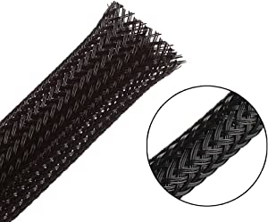 25ft - 1/2 inch PET Expandable Braided Sleeving – Black – Alex Tech Braided Cable Sleeve