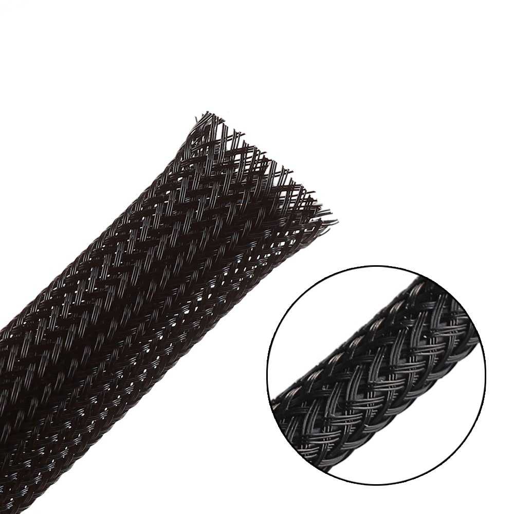 Black 100ft Protect Cat from Chewing Cords 1//2Inch Braided Sleeving PET Expandable Braided Wire Loom Cable Sleeve
