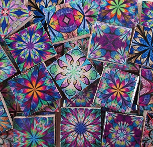 Ceramic Mosaic Tiles - Kaleidoscope Medallions Boho Gypsy Blue Purple (Ceramic Tile Inserts)